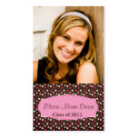 Pink and Brown Dotty Graduation Rep card Double-Sided Standard Business Cards (Pack Of 100)