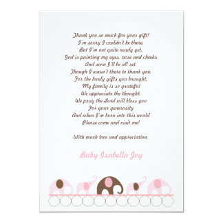 Pink and Brown Elephant Thank You Note with poem 5x7 Paper Invitation Card