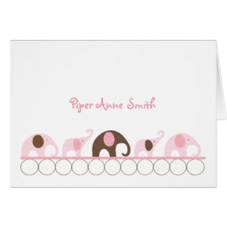 Pink and Brown Elephants Baby Girl Photo Note Card