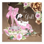Pink and Brown Ethnic Princess Baby Shower 5.25x5.25 Square Paper Invitation Card