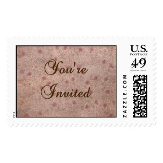 Pink and Brown Faded Floral Invitation Stamp