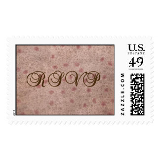 Pink and Brown Faded Floral RSVP Stamp