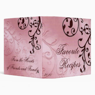 Pink and Brown Filigree Recipe 3 Ring Binder