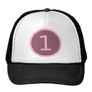 Pink and Brown First Birthday ONE Mesh Hats