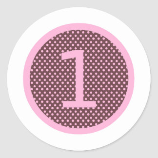 Pink and Brown First Birthday ONE Classic Round Sticker