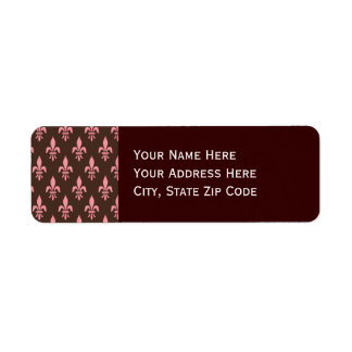 Pink and Brown Fleur De Lis Custom Return Address Label