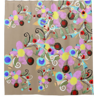 Pink and brown floral art shower curtain