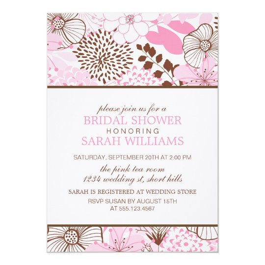 Pink and Brown Floral Bridal Shower Card