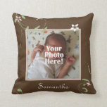 Pink and Brown Floral Custom Photo/Name Pillow