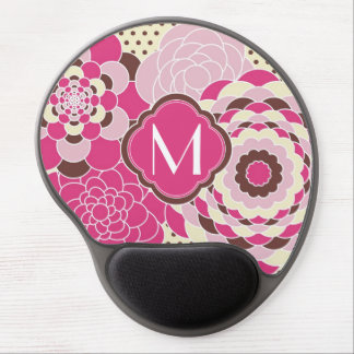 Pink and Brown Floral Design Modern Flowers Gel Mouse Mat