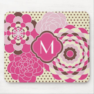 Pink and Brown Floral Design Modern Flowers Mouse Pads