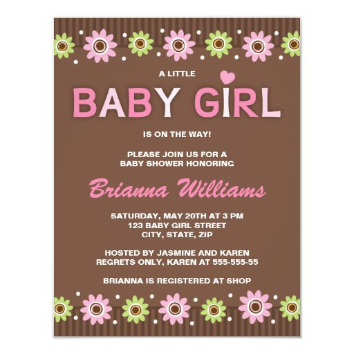 "Pink and brown floral girl baby shower invitation 4.25"" x 5.5"" invitation card"