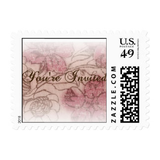 Pink and Brown Floral Invitation Stamp (Small)