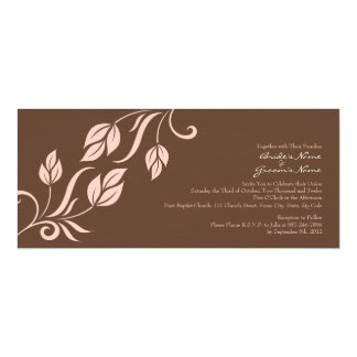 Pink and Brown Floral Leaves Wedding Invitation