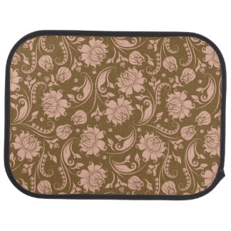 Pink and Brown Floral Pattern Car Mat