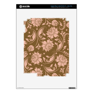Pink and Brown Floral Pattern Decals For iPad 3