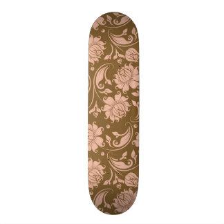 Pink and Brown Floral Pattern Skateboard Deck