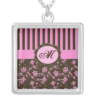 Pink and Brown Floral Striped Monogram Necklace