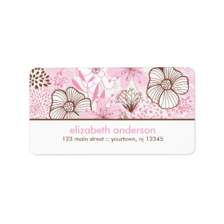 Pink and Brown Florals Address Label