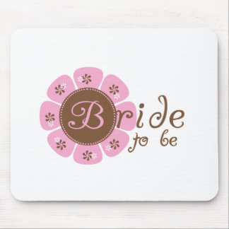 Pink and Brown Flower Bride to Be Mouse Pad