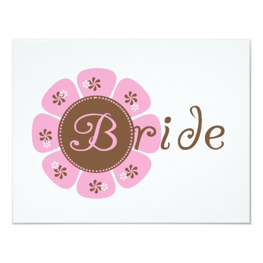 Pink and Brown Flower Bride Tshirts and Gifts Card
