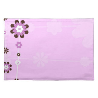 Pink and Brown Flower Custom Table Placemats