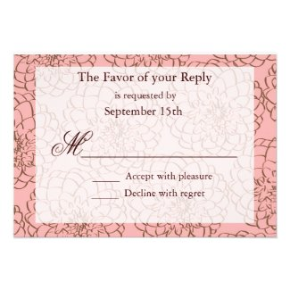 Pink and Brown Flower Line Art Wedding RSVP Cards