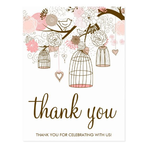 Pink and Brown Flowers & Birdcages Thank You Card Postcards