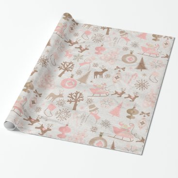 Christmas Themed Pink and Brown Forest Christmas Wrapping Paper