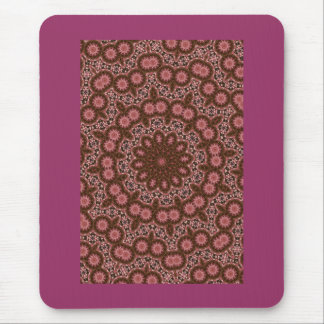 Pink and brown fractal design mouse pad