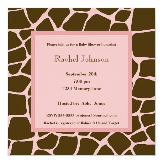 Pink and Brown Gariffe Baby Shower Invitation