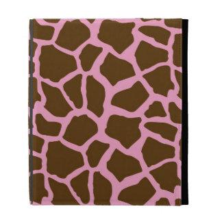 Pink and Brown Giraffe Animal Print iPad Folio Cover