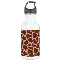Pink and Brown Giraffe Animal Print Water Bottle