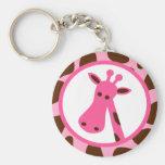 Pink and Brown Giraffe Spots and Giraffe Head Keychains