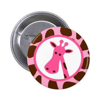 Pink and Brown Giraffe Spots and Giraffe Head Pinback Button