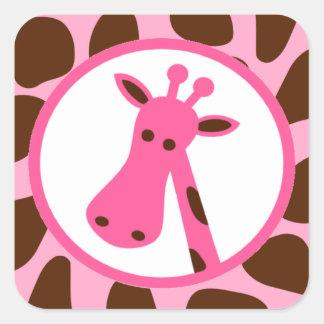Pink and Brown Giraffe Spots and Giraffe Head Square Sticker