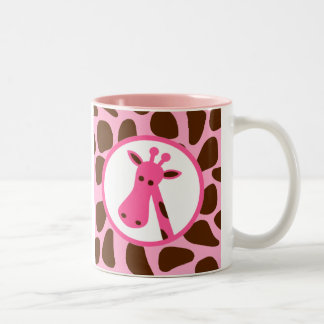 Pink and Brown Giraffe Spots and Giraffe Head Two-Tone Coffee Mug