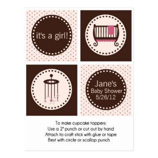 Pink and Brown Girl Baby Shower Cupcake Toppers Postcards