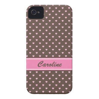 Pink and brown heart polka dots BlackBerry case