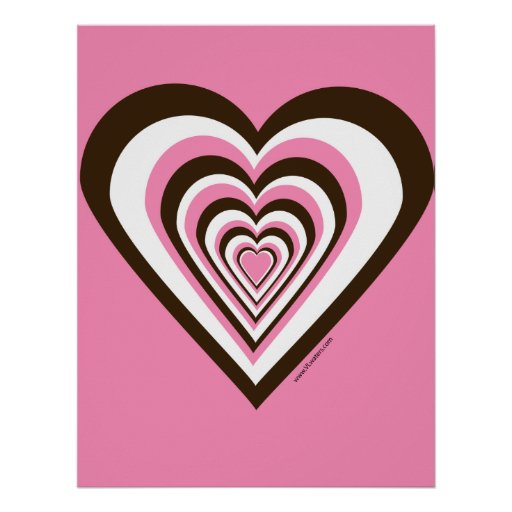 pink and brown heart poster