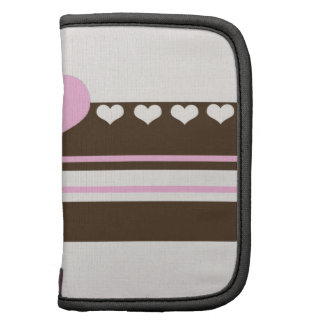 Pink and Brown Hearts and Stripes Organizer