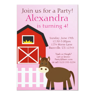 Pink and Brown Horse Farm Animal Birthday Party Card