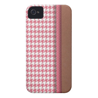 Pink and Brown Houndstooth iPhone 4 Case-Mate Cases