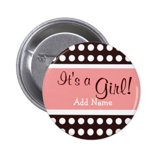 "Pink and Brown ""It's a Girl"" button"