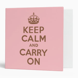 Pink and Brown Keep Calm and Carry On 3 Ring Binder