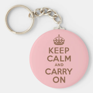 Pink and Brown Keep Calm and Carry On Keychain