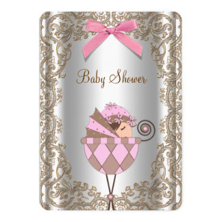 Pink and Brown Lace Baby Shower 5x7 Paper Invitation Card
