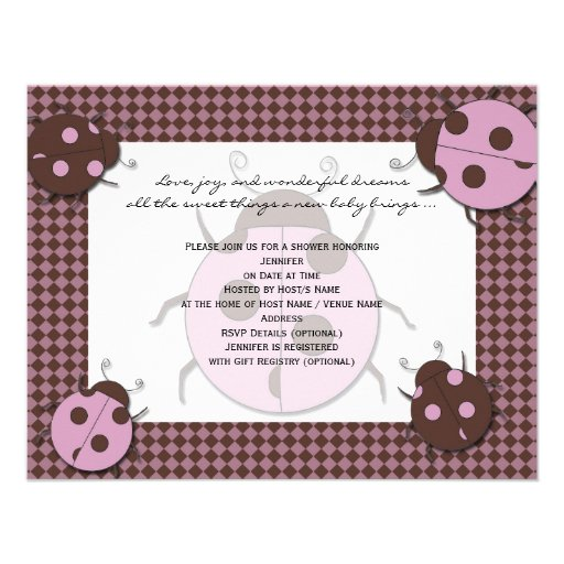 pink and brown ladybug baby shower invitation zazzle
