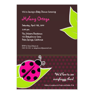pink and brown ladybug baby shower invitations