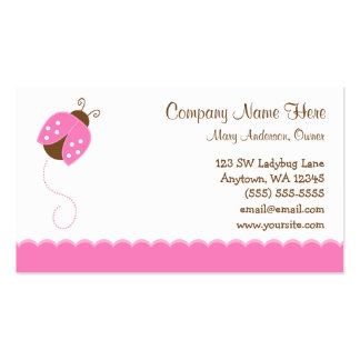 Pink and Brown Ladybug Double-Sided Standard Business Cards (Pack Of 100)
